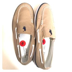 Big boys tan Polo canvas loafers size6